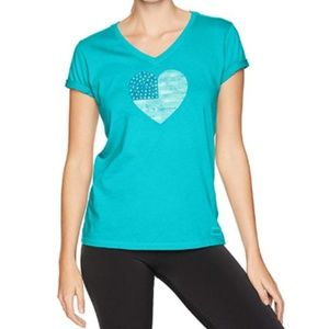 Life is Good Vivid Blue Large Heart Flag T-shirt